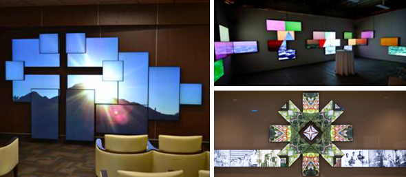 Video Wall Design installation and training performed on site by a team of 9x media video wall multi screen display and controller professionals and trained server Planar Mosaic Architectural Lcd Video Walls Planar
