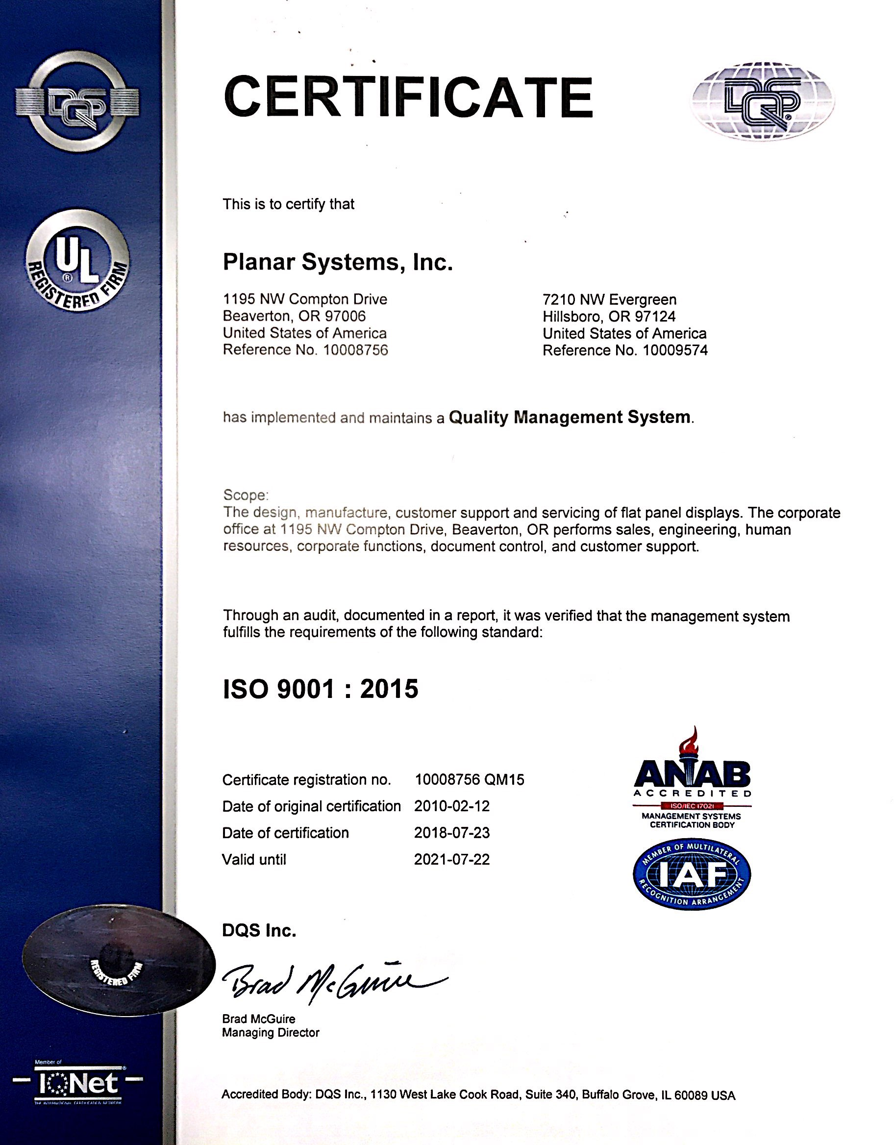 Planar Certifications Iso 9001 Planar
